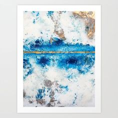 Blue Skies: a pretty, minimal abstract mixed-media piece in blue, white and gold Art Print by blushingbrushstudio | Society6 #abstractart