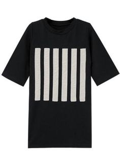 Black T-shirt In Stripe Print