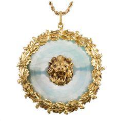 Buccellati Large Jade Medallion with Lion Motif 1 Pearl Necklace Price, Jade Necklace Pendant, Pearl Drop Necklace, Gold Medallion, Jade Jewelry, Gold Flowers, Flower Pendant, Leaf Earrings, Lockets