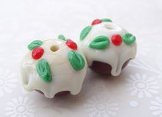 Mini Christmas Pudding Lampwork Beads UK