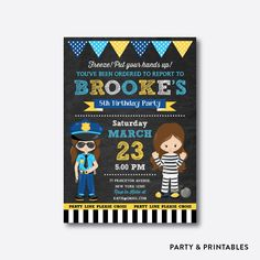 Police and Robber Chalkboard Kids Birthday Invitation / Personalized (CKB.531)