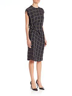 Lanvin Twist-Front Grid Dress