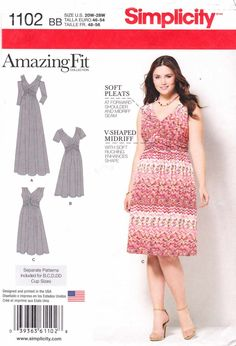 Simplicity Sewing Pattern 1102 Women's Plus Sizes 20W-28W Amazing Fit Raised Waist Knit Dress  --  Need a different size or pattern? Check out our store www.MoonwishesSewingandCrafts.com for 8000+ uncut sewing patterns all sizes and styles!