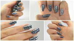 Manicuria stamping azul marino y espejo