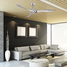 """With thinly contoured blades wrapped around a sleek motor housing, the Wind River Droid LED Ceiling Fan offers an ultra-modern fan design that effectively cools and beautifies any surrounding space. Made from metal and polymer plastic, the Droid LED Ceiling Fan offers 3 fan speeds with a 3-speed handheld remote control. Includes an integrated dimmable LED downlight for added luminance. The Droid LED Ceiling Fan comes with a lifetime limited warranty and 4.5"""" downrod for installment."""