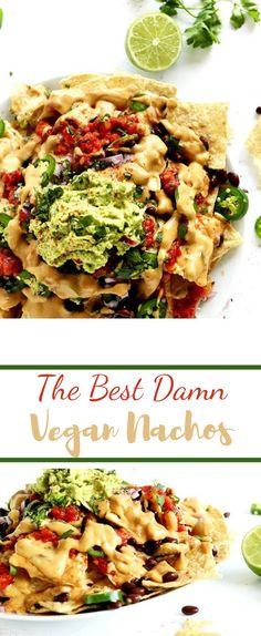 The Best Damn Vegan Nachos Vegetarian Nachos, Vegan Nachos, Best Vegetarian Recipes, Easy Healthy Recipes, Mexican Food Recipes, Delicious Recipes, Vegan Queso, The Best, Party Recipes