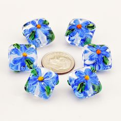 Handmade Lampwork Nugget Bead Set Clear with Blue Daisy Flowers SRA by HallockGlass by HallockGlass on Etsy