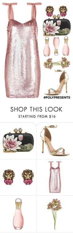 """""""Top Set 12/20/17 #PolyPresents: Party Dresses"""" by shamrockclover ❤ liked on Polyvore featuring Alexander McQueen, ALDO, Gucci, J.Crew, Christian Dior, Wyld Home, contestentry and polyPresents"""