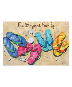 Love this Family of Four Flip-Flops Personalized Doormat on #zulily! #zulilyfinds