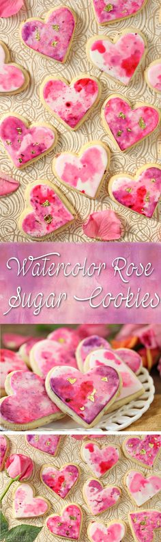 These Watercolor Rose Sugar Cookies are gorgeous and romantic, perfect for Valentine's Day! The cookies have real rose petals baked right in. Fancy Cookies, Iced Cookies, Royal Icing Cookies, Cookies Et Biscuits, Sugar Cookies, Cupcakes, Cupcake Cookies, Fondant Cookies, Heart Cookies