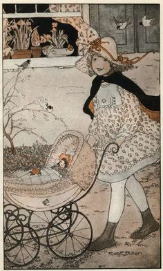 """It's spring, Lucy Locket,"" chattered Lydia. ""That's why you have a new hat and a new dress"" - Little Friend Lydia by Ethel Calvert Phillips, 1920"