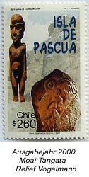 Briefmarke aus dem Jahr 2000 - Tangata Figur