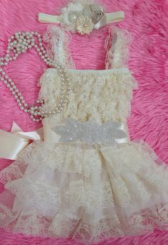 Ivory Princess Dress/ Ivory Lace Dress/ FlowerGirl Dress/ Baptism Dress/ Victorian / Vintage Dress/ Pageant/ First birthday/ Photoprop