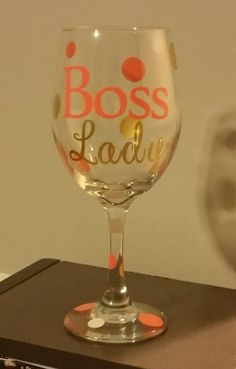 Boss Lady, Gift for Boss, Personalized Wine Glass, Custom Wine Glass, Girlfriend gift, Co-worker gift, Funny wine glass by personalizedbyTab on Etsy