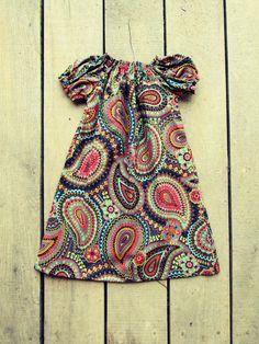 Girls Paisley Peasant dress fall coming home outfit size newborn 0-3 months, 3-6 months, 6-9 months, 12 months, 18 months, 2t, 3t, 4t. $21.00, via Etsy.