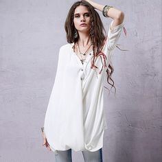 New 2015 Women Blouse Spring Summer Asymmetry Loose Linen Blouse White Long Casual Shirts Blusa Feminina