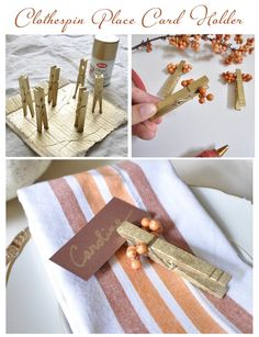 Spraypainted clothes pins and berries = place card holder. Change it up for Christmas dinner?