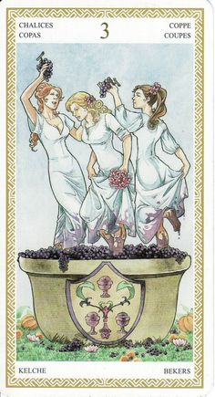 The 3 of Cups, from the Lo Scarabeo Tarot. http://lifeofhimm.wordpress.com/2014/09/29/todays-tarot-have-a-good-time/