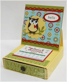 Owl Easel Calendar with Box - Inkspired Treasures Scrapbooking, Scrapbook Cards, Papel Scrapbook, Diy Projects To Try, Craft Projects, Post It Holder, Owl Card, 3d Paper Crafts, Easel Cards