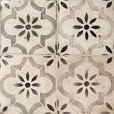 La Terre Gray, Black and White Deco Ceramic Tiles. Square tiles with a repeating pattern reminiscent of Moorish Spain.