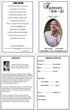 Free Funeral Program Templates  Funeral Program Sample Order Of