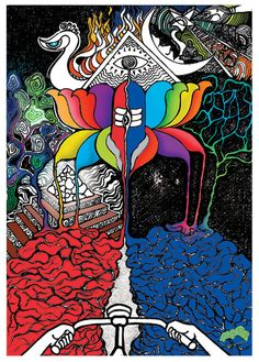 Albert Hoffman Bicycle Day Poster- Lsd Canvas wall Poster- Psychedelic Canvas print- Acid Trip poster- Trippy art- Visionary art print