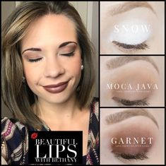 Snow, Moca Java, garnet ShadowSense trio. ShadowSense ideas. Hazelnut LipSense with matte gloss.