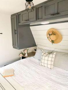 Farmhouse Master Bedroom, Tiny Master Bedroom, Camper Bathroom, Camper Renovation, Rv Interior Remodel, Trailer Remodel, Trailer Diy, Camper Makeover, Remodeled Campers