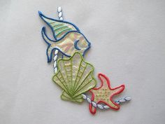 #4212 Tropical Aquarium Fish,Clam,Starfish w/Rope Embroidery Applique Patch #Unbranded