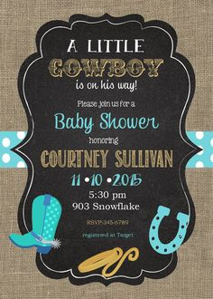 12 Cowboy Baby Shower Invitations With By Noteablechic On Etsy