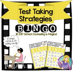 Test Taking Strategies Bingo (small group version) Elementary School Counselor, School Counseling, Elementary Schools, Test Taking Skills, Test Taking Strategies, Bingo Chips, Bingo Board, Study Skills, Calling Cards