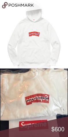 Supreme X Comme does Garçons hoodie Supreme x Comme des Garçons Box Logo Hooded Sweatshirt  SS17  White, sizes L and XL Includes receipt, bag, stickers Supreme Shirts Sweatshirts & Hoodies