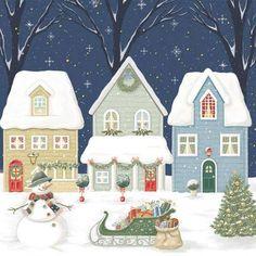 christmas decoupage welcome Christmas Night, Christmas Scenes, Retro Christmas, Christmas Pictures, Christmas Art, Christmas Holidays, Christmas Decoupage, Xmas, Illustration Noel