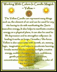 candle color meanings Candles: Working with Colors in Candle Magick ~ Yellow. - Pinned by The Mystic's Emporium on Etsy Candles: Working with Colors in Candle Magick Magick Spells, Candle Spells, Witchcraft Symbols, Jar Spells, Healing Spells, Candle Meaning, Yellow Candles, Color Magic, Color Meanings