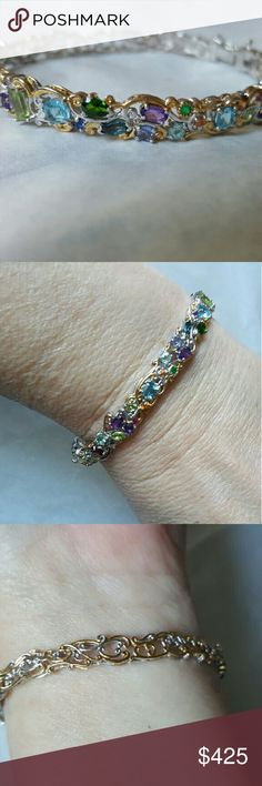 "NWOT, Womans Gems en Vouge Multigem Bangle Bracele 6.5 "" to 8 "" Hinged box clasp with 1 safty 8....Gems en Vouge CARNAVAL Collection....Multigems....Amethyst, Citrine, Garnet , Chrome Diopside, Tanzanite, Blue Topaz, Peridot.. Multi Shapes...Palladium is 925 silver with Platinum....18 k yellow gold Accents....this bangle will never tarnish.... Jewelry Bracelets"