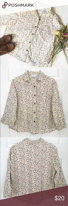 Floral Vintage Style Button Up Shirt Hipster Vintage style collared floral button down by Alfred Dunner   Has a super cute and unique design of flowers, trees and leaves on white fabric   Has small buttons that have a braided like design on them   One front chest pocket    3/4 sleeves that have a slight bell shape and a slit for easy movement   Is a bit faded from the wash   Size 14p (14 petite), but the shirt is short, so I think it would best fit as a loose medium (Model is a size…