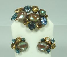 Regency Blue Gold Rhinestone Brown Opalescent Stones Set