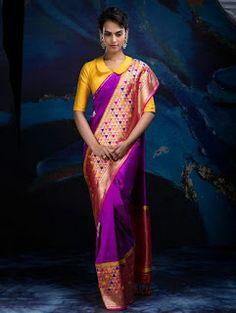 Purple and Beige Banarasi Silk Saree with Weaving Work Brocade Blouse Designs, Blouse Designs High Neck, Brocade Blouses, Collar Designs, Saree Blouse Designs, Blouse Patterns, Drape Sarees, Silk Sarees, Half Saree Lehenga
