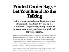 Printed Carrier Bags - Let Your Brand Do the Talking