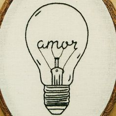 Amor Love Light Bulb Hand Embroidery Hoop Art