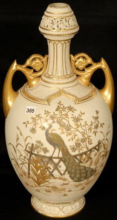 """18 1/2"""" ROYAL WORCESTER MOLD #1200 TWO HANDLED PERSIAN, CREAM TONES WITH LARGE PEACOCK DECOR, FLORAL AND GOLD HIGHLIGHTS"""