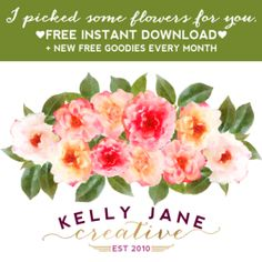 KJC free watercolor flower clipart - part of a whole collection of free graphics and printables when you sign up