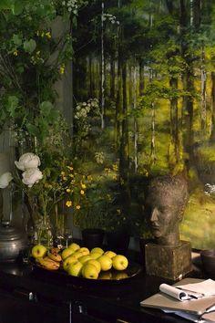 intérieur : chez Claire Basler, femme artiste française, végétation, vert