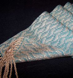Handwoven Scarf - Rayon and Tencel Scarf - Peach Teal Waves - Woven Tencel Scarf. $68.00, via Etsy.