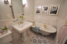 "tiles are carrera marble - hex on the floor, subway on the wall  -paint is Benjamin Moores ""gray owl"" (which actually looks a tiny bit green)  -the toilet is a Kohler Memoir  -sink & faucet is Porcher  -mirror, lights & shelf from pottery barn  ParlorBath2 by MrsLimestone, via"