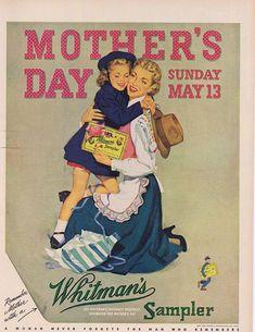 Hugs are my favorite present 1951 Whitman's Candy Sampler Mother's Day Original Vintage Advertisement. Vintage Pictures, Vintage Images, Vintage Advertisements, Vintage Ads, Mothers Day Ad, Ad Art, Vintage Postcards, Vintage Children, Advertising