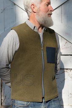 Forager Co. vintage US army blanket vest reverses to old stock denim