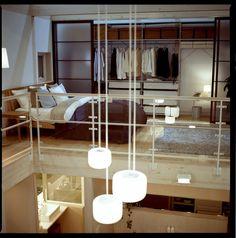 Loft bedroom of Muji model home, Yurakucho, Tokyo, Japan.