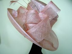 Wedding Hat In Pale Pink With Feathers