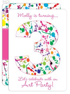 Art Party Invitations with paint splatters - I *love* the 2-sided design!!!